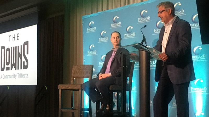 Josh Levy, left, of Waterstone Properties and Roccy Risbara, of Crossroads Holdings Inc., talk about their mixed-use development plans at a Portland Regional Chamber of Commerce event Wednesday morning.